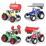 ZHIYA Farm Traktor Autos Spielzeug Landwirt Auto Fahrzeugbau LKW Auto Spielzeug Kann das Kopfende und den hinteren Anhänger Baufahrzeug Site Toy Bulk Kleinkind Geschenk für 3 Jahre alte presents
