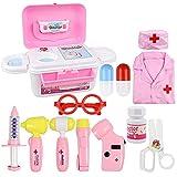 KAIBINY 17 Teile Arztkoffer Kinder, Doktorkoffer Kinder Rollenspiel Spielzeug Mit Rosa, Doktor-Spiel-Set Medizinischer Koffer Für Mädchengeschenke Im Alter Von 3+ Jahren (Rosa)