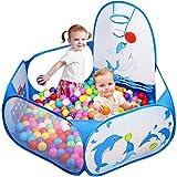 Likorlove Kinder Bällebad, Pop Up Baby Kugelbad Outdoor mit Mini Basketballkorb Bällepool Bällebecken Spielbälle Kugelbad Bällchenbad Spielbecken für drinnen und draußen 47 inch - Blau