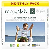 Eco by Naty, Größe 3, 180 Windeln, 4–9 kg, MONATSVORRAT, pflanzliche Premium-Bio‑Windeln mit 0% Plastik auf der Haut.