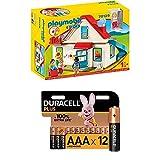 Playmobil 1.2.3 70129 Einfamilienhaus, Mit funktionsfähiger Klingel und Soundeffekt, Ab 18 Monaten + Duracell Plus AAA Alkaline-Batterien, 12er Pack