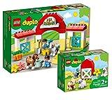 Collectix Lego DUPLO Set - Pferdestall und Ponypflege (10951) + Tierpflege auf dem Bauernhof (10949), Geschenkset ab 2 Jahren