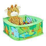Relaxdays 10028881 Bällebad Baby, Dschungel Ballzelt mit 50 Bällen, quadratisch, Pop-Up, HBT 29 x 80 x 80 cm, Bällchenbad, grün
