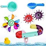 BBLIKE Baby Badespielzeug Set, Kinder Wassermühle Badewannenspielzeug mit BAU-Puzzle Autorennbahn Badewannen Spielzeug, Für Kinder Baby ab 18 Monate+