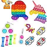 12 PCS Fidget Spielzeug Set,Sensory Toys,Sensory Fidget Toys Set,Push Pop Bubble Set,Anti Stress Spielzeug Set,Angst Relief Finger Toys,Anti Stress Spielzeug,Stressabbau Spielzeug