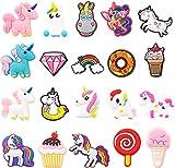 20 Stück Einhorn-Schuh-Charms für Kinder, Einhorn-Schuh-Dekoration, Charm für Clogs, kleines Hufeisen-Charm für Mädchen, Geburtstagsgeschenk, Kawaii-Dekor zum Reinschlüpfen, Schatzspielzeug