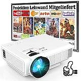 Beamer HI-04 Mit 100 Zoll-Leinwand, 7000 Lumens Beamer Full HD 1080P Unterstützt, Mini Video Projektor Kompatibel mit TV-Stick Smartphone Tablet HDMI VGA USB AV TF, Heimkino Beamer, Weiß.