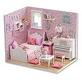 Hilitand DIY Puppenhäuser Miniatur Puppenhaus Holzspielzeug Ohne Musik für Kinder Geburtstagsgeschenk für Kind und Campus Paar große Wahl für Wohnkultur(pink)