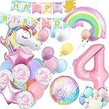 Luftballon 4. Einhorn Geburtstagsdeko Mädchen, 4 Jahr Geburtstag Pastell Deko, 4 Ballon Einhorn Deko, Kindergeburtstag Deko Alles Gute zum Banner Decko für Baby Mädchen Geburtstag…