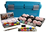 Eulenspiegel 299548 - Schmink-Koffer Einsteiger, 24 Profi-Aqua Farben, 6 x Glitzer, 10 Schwämme, 1 Bart-Stoppel-Schwamm, 3 Pinsel