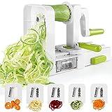 Spiralschneider mit 5 Klingen Faltbare Gemüse Spaghetti Gemüseschneider Für Gurke Kartoffel Zucchini Noodle Mit Saugnapf