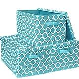 Faltbare Aufbewahrungsboxen mit Deckel, Stoff-Aufbewahrungswürfel mit Griffen, für Zuhause, Büro, 40,5 x 30,5 x 26 cm, 3 Stück (blau)