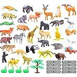 Tierfiguren Kinder ab 2 Jahr, 53 Stücke Lebensechte Bauernhof Tiere Spielzeug mit Baum, Mini-Spielzeugset von Dschungel-Tieren