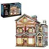 Onenineten Haus Bausteine mit LED-Licht, 3033+Teile DIY Magic World Series Besenladen Modellbausatz, Modular Building, Klemmbausteine Gebäude Modell Kompatibel mit Lego Haus(Mould King 16039)