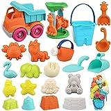 Bakeling Sandspielzeug für Kinder, 22 Stück Strandspielzeug Set in wiederverwendbarer Netzbeutel, Sandkasten Spielzeug mit Bagger Eimer Sandförmchen Sandmühle und andere Werkzeuge