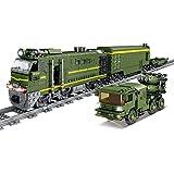 SICI City Güterzug mit Schiene, Technik Zug Eisenbahn Lokomotive Modell mit Motor und Beleuchtungsset, Bausteine Zug 1174 Teile Kompatibel mit Lego Technik
