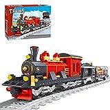 GILE City Güterzug Set, 410 Teile Technik Zug Eisenbahn bausteine bausatz mit Schiene, Technik Zug Modell Kompatibel mit Lego Technik