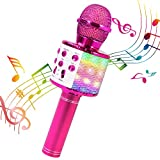 ShinePick Karaoke Mikrofon, Bluetooth Mikrofon Kinder, Tanzen LED Lichter Drahtlose Tragbares Microphon mit Lautsprecher Aufnahme für Erwachsene und Kinder, Kompatibel mit Android IOS PC (Rosy)