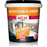 MEM Montage-Kleber Extrem, Pastöser Dispersionsklebstoff, Hohe Anfangshaftung und Endfestigkeit, Für verschiedene Untergründe, Lösemittelfrei, Inklusive Spachtel, 1 kg-Dose, Weiß