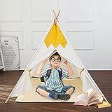 Tipi Zelt für Kinder Indoor & Outdoor mit Bodenmatte&Fenster Natürliche Baumwolle Segeltuch Geschenk für Mädchen Jungen Kleinkind Spielhaus Tragekoffer Faltbare Dekoration