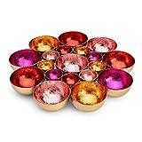 ZEYA Teelichthalter rot rosa orange pinkfarben Ø 21 cm | Deko Wohnzimmer | perfekte Tisch Dekoration für Weihnachten | Metall