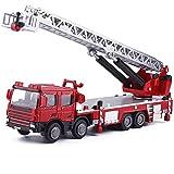 WANGCH 1:50 Luftleiter Feuerwehrauto Automodell Spielzeug/Statische Sammlung Dekoration Ingenieurfahrzeug/Multifunktionslegierung Bauwagen Kindergeburtstag
