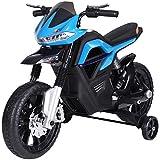 HOMCOM Kindermotorrad Kinder-Elektromotorrad Elektro-Motorrad für Kinder 3-6 Jahren Licht Musik MP3 Elektrofahrzeug mit Stützrädern maximal 3 km/h Metall + Kunststoff Blau 105 x 52,3 x 62,3 cm