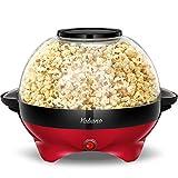 Yabano Popcornmaschine für Zuhause, Popcorn Maker Machine mit Zucker & Öl, Abnehmbare Heizfläche, 5L Popcorn Popper, Antihaftbeschichtung, Großer Deckel als Servierschale, Platzsparende Lagerung
