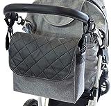 Ferocity Baby Wickeltasche Kinderwagentasche Reisetasche Windeltasche Pflegetasche Babytasche Umhängetasche Muster Graues Len schwarzes Leder [059]