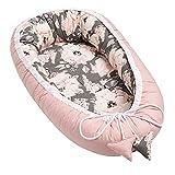 Solvera_Ltd Babynest 2seitig Kokon 100% Baumwolle Babybett Nestchen für Neugeborene Kuschelnest Weiches und sicheres Baby-Reisebett (50x90) (Peony/Dunkel Rosa)
