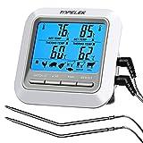 TOPELEK Thermometer Küche Digitales Grillthermometer Bratenthermometer Fleischthermometer 2 Sonden Haushaltsthermometer Temperatur Voreinstellung, Küchenwecker, Sofortiges Auslesen für Küche, Grill