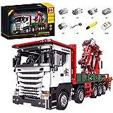 ReallyPow Technik Kran LKW, Kranwagen mit Motor, Fernbedienung und Licht, Schwerlastkran Bausatz Kompatibel mit Lego Technic - 3925 Teilen