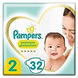 Pampers Größe 2 Premium Protection Baby Windeln, 32 Stück, Tragepack, Weichster Komfort Und Schutz (4-8kg)