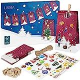 Adventskalender zum Befüllen: Schöner 2021 Adventskalender zum Selbstbefüllen mit 24 dekorativen Tüten und Zahlen Aufkleber – DIY Adventskalender zum Basteln – Adventskalender Selber Befüllen LIVAIA