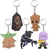 5er Set Baby Yoda Keyring Schlüsselanhänger ZSWQ-Star Wars Schlüsselhänger Karabinerverschluss, Schlüsselring, Auto-Schlüsselkette für Unisex