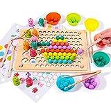Rolimate Holzspielzeug Angelspiel Magnetisches Holzpuzzle Brettspiel, Clip Perlen Montessori Vorschule Spielzeug für Kinder, Lernspielzeug Matching-Spiel Geburtstag Geschenk für 3 4 5 Jahre