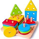 Rolimate Steckplatte Holz Holzpuzzles Sortierspiel Holzsteckspiel für 2 3 4 Jahre Montessori Spielzeug, Sortier Steckspielzeug mit 16-teilig Geburtstagsgeschenk Pädagogisches Sensorisches Spielzeug