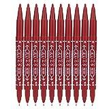 Tattoo Skin Marker, 10 Stück Doppelend Tattoo Piercing Positionierung Hautmarkierungsstift, Body Art Supply Tool(rot)