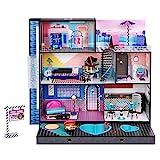 LOL Surprise Home Sweet mit OMG Puppe. Holz-Puppenhaus mit Möbeln. 85+ Überraschungen, 6 Zimmer: Schlafzimmer, Pool, Aufzug, Küche, Kleiderschrank und mehr! 91x91cm Haus für Jungen/Mädchen ab 3 Jahren