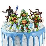 Teenage Mutant Ninja Turtle Action Figuren, 6 Stück Ninja Turtles Tortenaufsatz Kuchen Topper Kinder Geburtstag Kuchen Dekoration Cartoon Kuchen Topper Party Dekoration