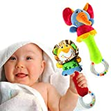 HUADADA Greifling zum Rasseln,Cartoon Tier Rassel Kleinkind Spielzeug weiche Flock Stoff mit Klingel Glocke. rassel für Babys und Kleinkinder ab 3 -12 Monaten.(Löwe, Elefant)
