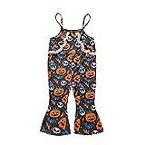 Halloween-Kleidung für Kleinkinder, Mädchen, 1–5 Jahre, ausgestellter Overall, Spaghettiträger, Kürbis-Druck, Orange Blau, 4-5 Jahre