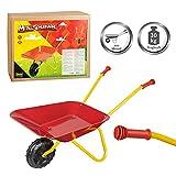Idena 7131707 - Metallschubkarre für Kinder ab 24 Monaten in rot gelb, ca. 78 x 40 x 38 cm, ideal für Garten und Sandkasten