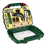 Theo Klein 8394 Bosch Ixolino Koffer I Mit Hammer, Schraubenschlüssel und vielem mehr I Batteriebetriebener Akkuschrauber Ixolino I Maße: 26,6 cm x 32 cm x 8,8 cm
