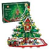 Weihnachtsbaum Haus Elchzug Modell,2126Pcs Weihnachtszug Bausatz,Kleine Partikel Baustein Spielzeug Modell Dekoration Kompatibel mit Lego A,35 * 35 * 40cm
