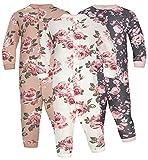 Sibinulo Mädchen Jungen Baby Schlafstrampler Babykleidung Set Größen 2-3 Jahre, Langarm Schlafanzug ohne Fuß 2er Pack WeißeKeksGrapfit Rose 98