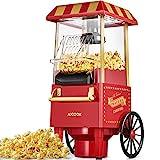 Popcornmaschine Retro, Aicook™ 1200W für Zuhause Popcorn Maschine Maker mit Heissluft, Popcorn Machine ohne Fett Fettfrei Ölfrei, Eine-Taste-Operation, Popcorn Popper, Rot