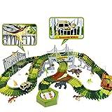 Dinosaurier Cars Rennbahn Autorennbahn - Dino Autobahn Flexible StraxBahn Rennstrecke 213 Stück mit 8 Dinosaurier Figuren 1 Auto Spielzeug Kinderspielzeug ab 3 4 5 6 Jahre Junge Mädchen