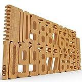 CALCULIX Premium Zahlenbausteine Montessori Spielzeug Made in EU – 61 FSC Holz Bausteine aus massiver Buche - nur mit natürlichem Pflanzenöl geschützt - spielerisch Mathe, Zahlen & 1x1 Lernen