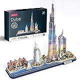 CubicFun 3D Puzzle Dubai LED CityLine - Atlantis The Palm Dubai, Burj Al Arab Jumeirah Hotel, Burj Khalifa, Emirates Towers Kits und Souvenirgeschenk 182 Stück